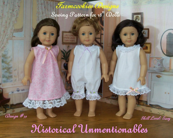 """PDF SEWING PATTERN  / Historical Unmentionables   / Sewing Pattern Fit American Girl® or other 18"""" Doll"""
