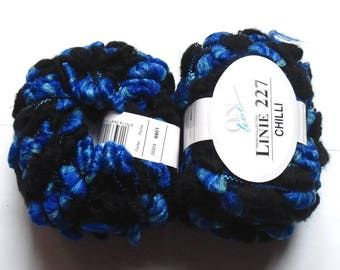 5 balls Chilli On Line Linie 227 with blue Mohair black 0004