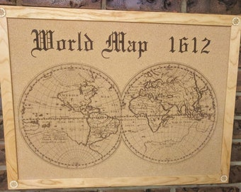 1612 World Map Cork Board