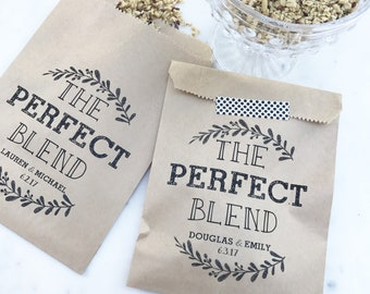 Wedding Favor Bags! - The Perfect Blend - Coffee, Tea & Honey, or Granola Favor Bags - Custom Printed on Kraft Brown Paper Bags