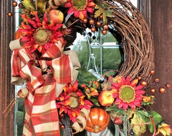 FALL GRAPEVINE WREATH with Sunflowers, Pumpkins and Plaid Bow, Thanksgiving Wreath, Harvest Wreath