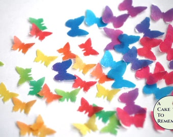 Edible butterflies, 48 small solid colors, wafer paper butterfies for cake decorating, Wedding cake topper, waferpaper, cupcakes, cake pops