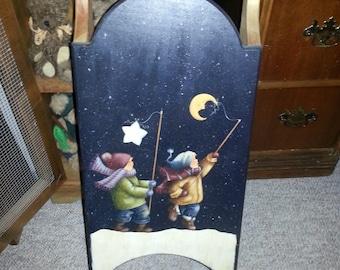 painted snowseld, children in snow, whimsical sled, farmhouse folkart, primitive christmas, handpainted folkart
