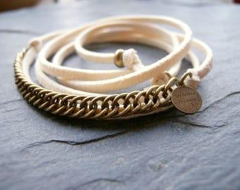 Ecru headband-head-strap suede jewelry bronze