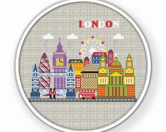 BOGO FREE. London Cross Stitch Pattern,(#P- 1253) City Modern Cross stitch,  Fantasy Art Cross Stitch Pattern. Magical London cross stitch.