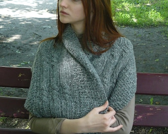 Knitted Infinity scarf wool Oversized scarf women Gray cowl scarf Tweed loop scarf Knit circle scarf Neckwarmer cowl scarf Gift for her