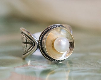 Leaf engagement Ring, Nature ring, leaves ring, silver gold ring, twig ring, pearl ring, bohemian ring, flower ring - Lights on. R1691G