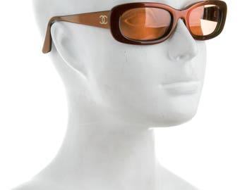 CHANEL 90s Y2K Orange Lens + Holographic Frames Techno Millennium Sci Fi / Sport / Athletic / Futuristic Vintage Sunglasses