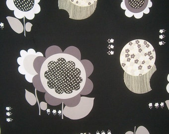 SPECIAL--Taupe and Beige on Black Huge Retro Floral Print Pure Silk Broadcloth Fabric--One Yard