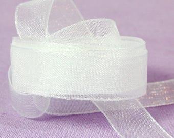 By the Foot - White Organza Ribbon. White Sheer Ribbon. White Ribbon for Hair Bow Supplies. White Dress Making Ribbon. White Craft 10mm