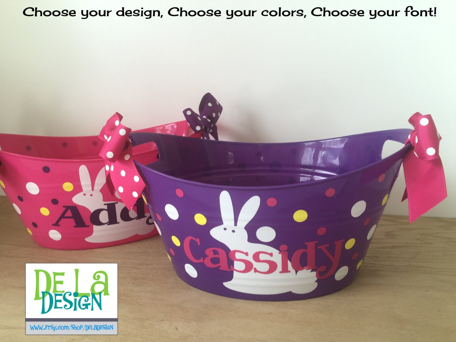 Personalized oval tub easter basket gift basket name zoom negle Image collections