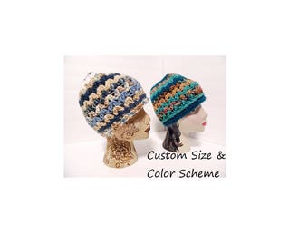 Messy Bun Hat,  You Choose Color, Made to Order