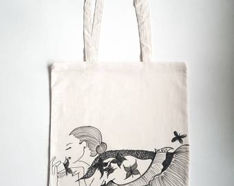 Hand-painted cotton bag 'BUTTERFLY'