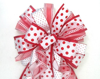 Red and White Bow / Christmas Tree Topper Bow / Christmas Bow / Tree Topper Bow / Wreath Bow / Tree Topper