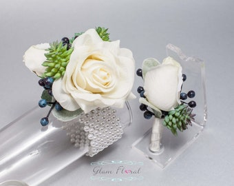 Succulent Corsage and Boutonniere Set - Real Touch Flowers, Prom Corsage, Succulent Boutonniere, Succulent Wrist Corsage, White Navy Green