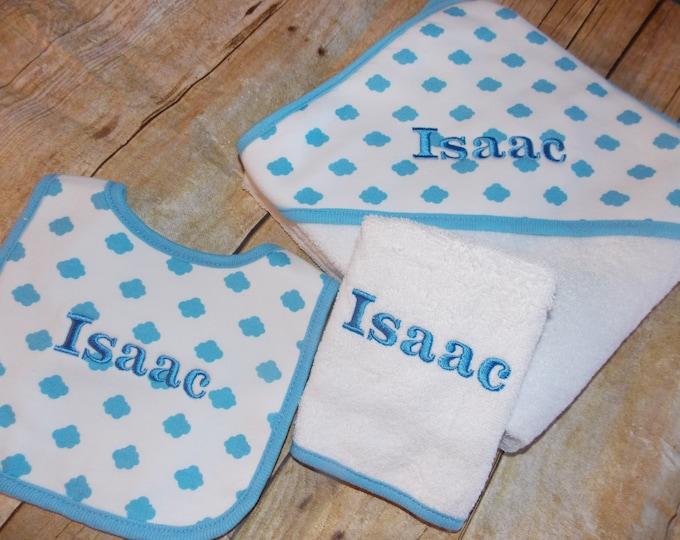 Infant hooded towel set - Baby boy shower gift - Embroider bib - Baby hooded towel - Blue towel set - Personalize boy blanket - Blue Clouds