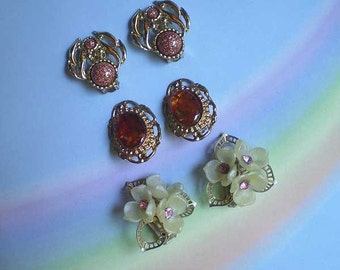 Vintage 50s Lot 3 Clip-On Earrings Pink Copper Tones