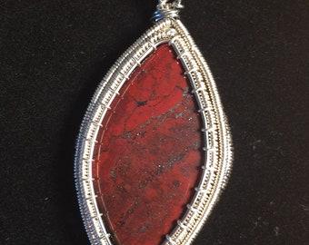 jasper and hematite pendant