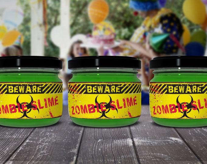 Zombie Slime Jar Label Wrappers - Halloween Party, Slime Party, Zombie Party, Pre-Typed Labels   INSTANT Download PDF Printable Set