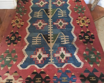Vintage Rug, Large wool Kilim,  Beautiful Shades of Red, Blue, and touches of Black and Green, Anatolian Turkish Rug