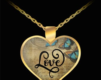 Love Gold Heart Pendant Necklace - Butterfly and Antique Love Letter Steampunk / Vintage Antique Style Valentine's Day Gift