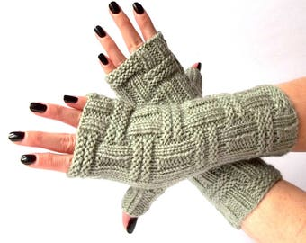 Mint Knit Fingerless Gloves. Knitted Fingerless Mittens. Arm Warmers. Wrist & Hand Warmers. Women Accessories.