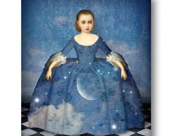 Blue Moon Dress Gown Print Digital Art Night Sky Blue Surreal Home Decor Stars Lunar