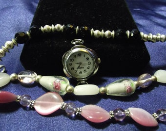 Woman's Quartz Watch with 3 Beaded Bands (Pink & Black ) B135