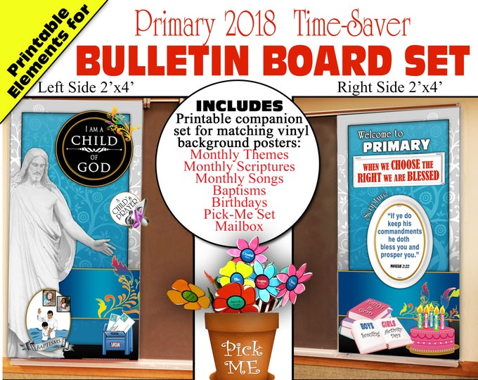 Primary Bulletin Board 2018 I Am A Child of God Printable Elements Bundle with Monthly themes, scriptures, songs, birthdays and more