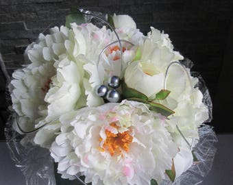 made of artificial peonies bridal bouquet