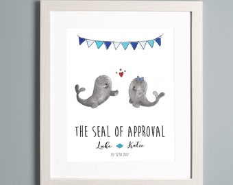 Couples Seal Personalised A4 Print