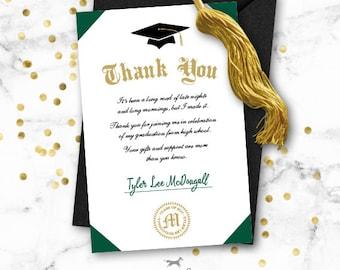 Graduation Thank You Note Card Printable - Diploma
