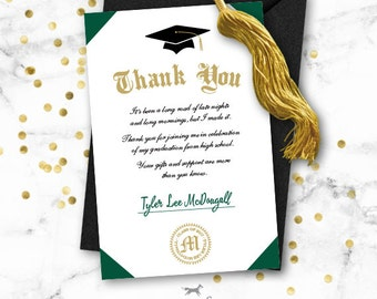 Graduation Thank You Note Card Printable   Diploma
