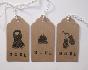 Christmas gift tags, pack of 6, woolly hat, scarf and mittens for presents and gifts