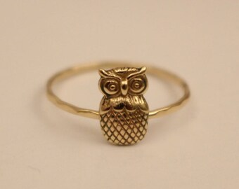 Owl Ring, 14k Owl Ring, 14k gold owl ring, 14k stackable ring, 14k knuckle ring, 14k thumb ring, 14k gold ring, 14k stack ring