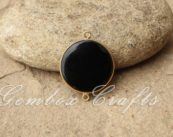 Black Onyx 14mm Round Both Side Flat Smooth 925 Sterling Silver Gold Plated Bezel Connector