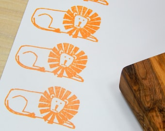 Chunky Lion Olive Wood Stamp
