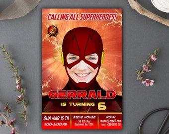 The Flash/Flash/The Flash Superhero/Flash Cards/The Flash Birthday/The Flash Party Supplies/The Flash Birthday Invitation/Superhero Invite