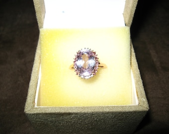 8.04 carat Kunzite 10k rose gold ring, with tourmaline, topaz accents