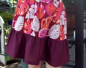 Print on Print Plus Size XXL XL Ready to Ship Tropical Elastic waist skirt - Ruffle Skirt - Boutique Skirt - Mixed Prints BBW  18 20