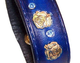 Item 050610 Hand Made Leather and Crystal Rose Bracelet