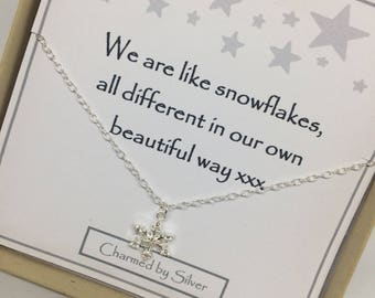 Sterling Silver Snowflake Sparkle Charm Necklace - a perfect gift