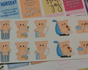 Pig Pen Cleaning Chores Housework Planner Stickers TN