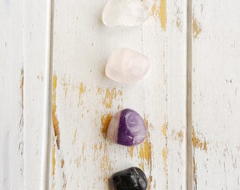 Help to Relieve Addiction Set, 4 Piece Stone Set, Tumbled Gemstones, Reiki Charged, Healing Stones