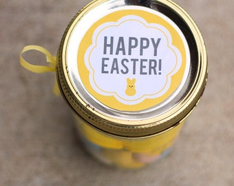 Printable Easter mason jar label instant downloadable PDF | Happy Easter label | Easter treat bag label | gift tag