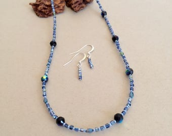 Womens Jewelry Blue Jewelry Set Blue Necklace Earrings Blue Bead Necklace Small Bead Delicate Necklace Handmade Gift For Her Gift For Mom