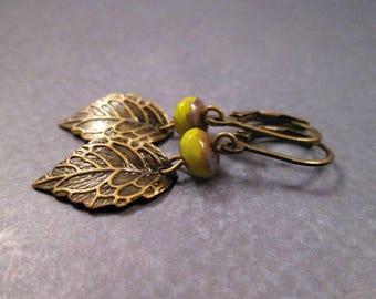 Brass Leaf Earrings, Green Picasso Glass, Bronze Dangle Earrings, FREE Shipping U.S.