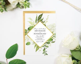 Greenery and Gold Wedding Invitation, Floral, Foil, Handmade, Elegant, Modern, Copper, Silver, and Rose Gold Foil Available