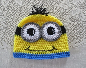 Minion Inspired Crochet Hat - Beanie Style - Photo Prop - Available in Any Size or Color Combination