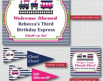 Girl Choo Choo Train Birthday Printable Party Package - Pink Train Birthday Party Decor - DIGITAL DESIGN